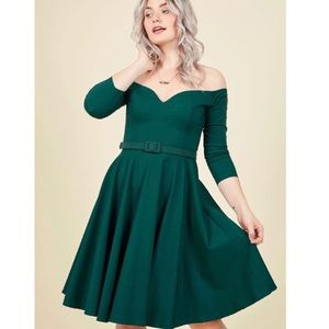 Collectif Twirl Me What You Think Teal Dress M